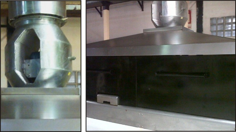 Oven end hood - bi furcated fan